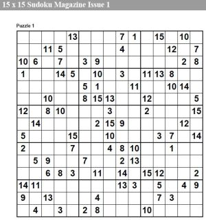 15 x 15 sudoku magazine